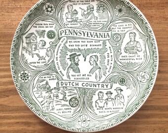Pennsylvania Vintage Green & White Souvenir State Plate