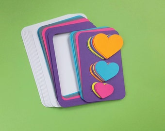 children's neon hearts diy card making kit  - makes ten flat cards