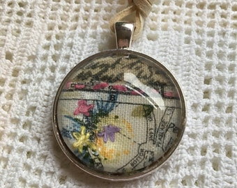 Textile pendant with hand embroidery and altered fabric - gift - Spring