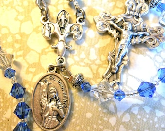 St. Joan of Arc Rosary with Swarovski Crystal Beads-Traditional 5 Decade Catholic Rosary-Sold by Lily of Peace on Etsy
