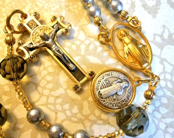 St. BenedictTraditional Five Decade Rosary-Swarovski Pearls, Czech glass. St. Benedict crucifix & medal