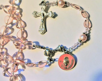 Girls First Communion Rosary-Pink hearts and pearls with Commemorative 1st communion medal-Sold by Lily of Peace on Etsy