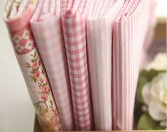 Pink Stripe Fabric, Pink Checker Fabric, Pink Flower Fabric - Fabric By the Yard 23711