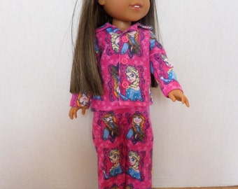 Pink Frozen/ Anna and Elsa flannel pajamas or sleepwear fits 14 1/2 inch American made Wellie Wisher Girl dolls