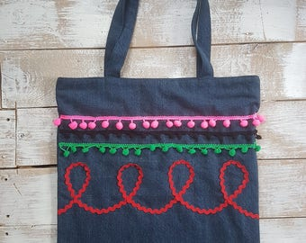 mexican fiesta denim tote  bag, flower vintage