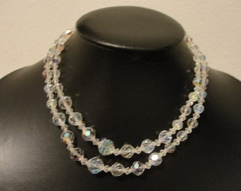 """double strand crystal choker necklace adjustable 14.25""""-16"""""""
