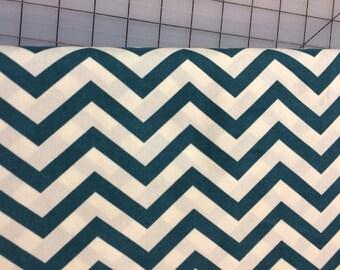Half Yard cut of Birch Fabrics-  Organic Cotton - Mod Basics - Skinny Chevron - MB2-04-Pool