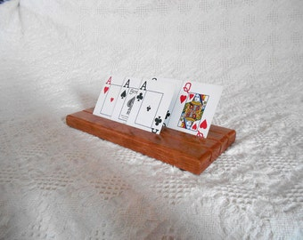 Wood Playing Card Holder Set - Made from Cherry Wood
