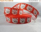 """Meow Ribbon, Kitten grosgrain ribbon, Cute cat ribbon, 7/8"""" Ribbon by the yard, White Cat ribbon, RN14778"""
