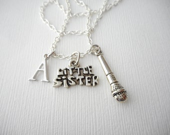 Little Sister, Microphone- Initial Necklace/ Sisterhood gift, sister love necklace, wedding jewelry gift, sisters gift, Best Friend, lil