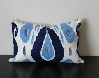 Decorative Pillow Cover, Blue and White Ikat Pillow Cover, Lumbar Pillow, Accent Pillow, Toss Pillow, Blue Fasil Lapis Duralee John Robshaw