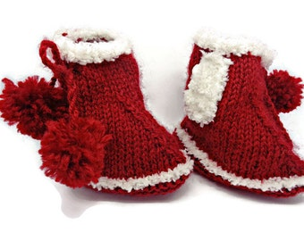 red bootees, baby girl bootees, red pram shoes, red booties, red baby shoes, knitted bootees, Winter bootees, uk baby accessories