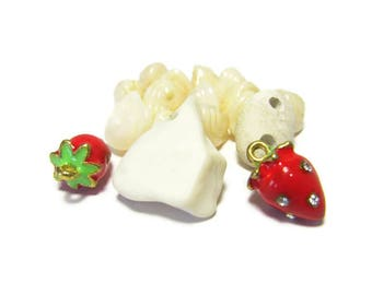 Strawberries n Cream, White Pottery, Beach Pottery, Stone Button, Bone Button, Czech Glass Beads, Enamel Strawberries, Rhinestones, Supply