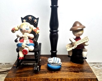 Vintage Musical Nursery Lamp Child's Mechanical Wooden Boy and Rocking Girl, Braham's Lullaby