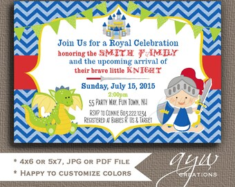 Knight Baby Shower Invitation Boy Invitation Knight Shower Invitation Chevron Invitations Printable Baby Shower Invitations Knight