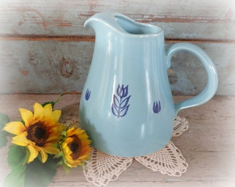 cronin pitcher with blue tulips / croninware / vintage cronin vase