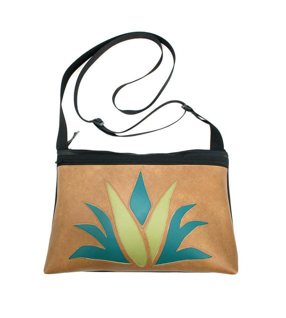 Agave, cactus, tan vinyl, medium crossbody, vegan leather, zipper top