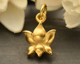 Small 24K Satin Gold Plated Sterling Silver Textured Lotus Bud Charm