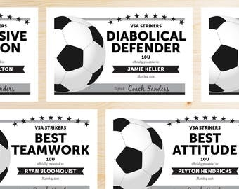 Editable Soccer Award Certificates - INSTANT DOWNLOAD PRINTABLE - Black and Grey Gray Silver