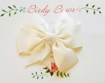 Ivory Bow Clip, Baby Headbands, Infant Headbands, Baby Girl Headbands, Infant Bow, Baby Bow, Girl Bow,Girl Headbands