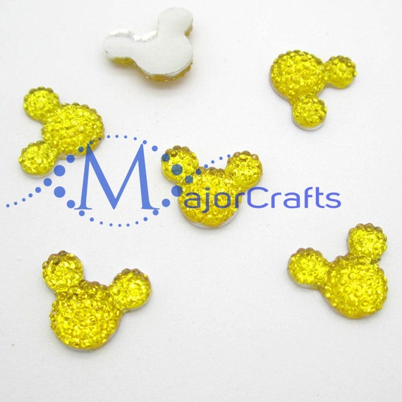 40pcs Yellow 14mm Flat Back Mouse Head Resin Rhinestones Gems - DIY Craft Embellishments by MajorCrafts