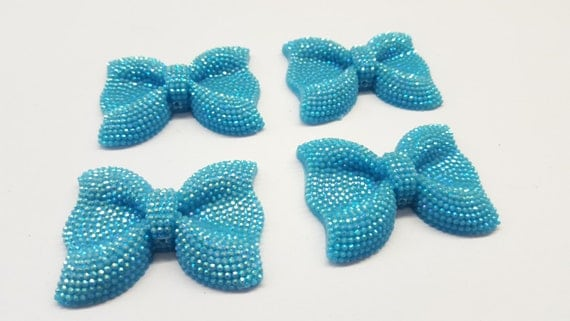 Sky Blue AB Large Flat Back Chunky Resin Rhinestone Embellishment Bows C19