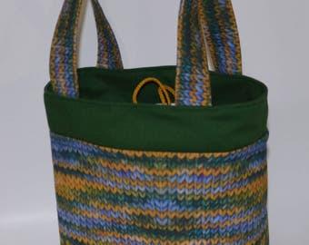 Designer drawstring Tote Knit print project bag free shipping