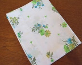 "Vintage Pillowcase - Blue and Green Floral - 30"" x 20"""