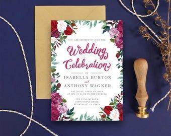 Floral Wedding Invitation Card - Rustic Wedding Invitation, Woodland Invitation, Boho Chic Wedding - Printable Invitation DIY