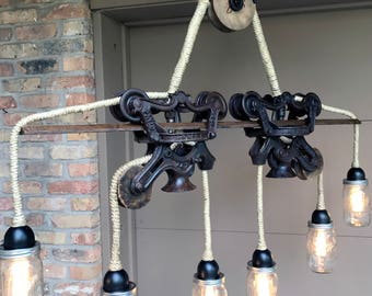 Light Chandelier BarnTrolley Rustic Mason Industrial