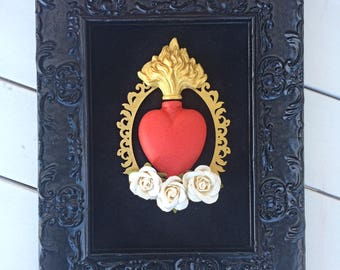 Framed sacred heart flamed with roses wall art
