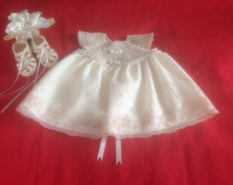 Handmade Crochet Baby Girl Dress Set - Beige and Cream