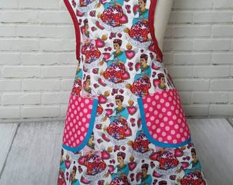 Frida Kahlo woman's apron retro style pink blue Mexican folklore