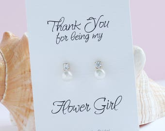 Flower Girl Earrings, Flower girl gift from Bride, Sterling Silver Flower Girl Pearl Earrings, CZ Pearl Earrings, Pearl Stud Earrings, FE415