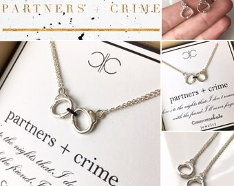 Partners in Crime...set of TWO friendship necklaces, partner in crime
