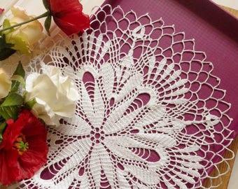 Elegant crochet doily Lace doilies White crocheted doilies White lace doily Vintage decor Large crochet doily Crochet tablecloth