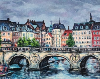 "Fine Art 8 X 10 Print of my Original Painting ""European City"""