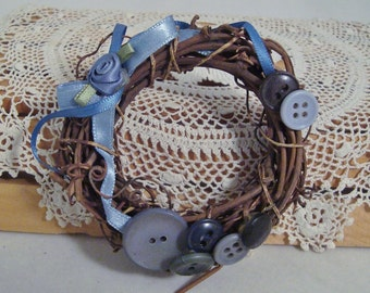 Miniature 3-Inch Grapevine Wreath with Vintage Button Accents