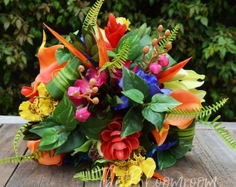 Tropical bouquet / Silk bridal bouquet / Tropical flowers / Blue / Orange / Yellow / Wedding bouquet / Weddings / Silk wedding flowers