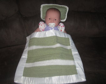 Sage and White Baby Blanket  /  Doll Blanket  / Security Blanket with Satin
