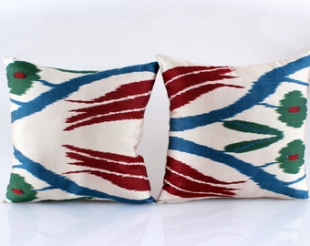 Set Of 2 Silk Ikat Pillow Cover  Ikat Pillow Throw Pillow Decorative Pillow Cushion Organic Shine Modern Home Decor