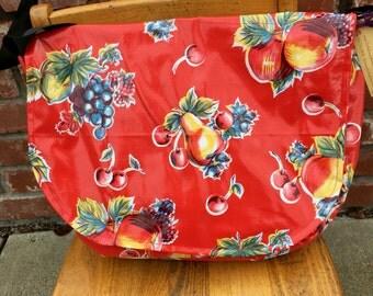 Hand made Oilcloth Messenger Bag Purse Red Floral
