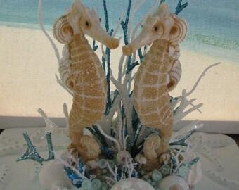 Seahorse Wedding Cake Topper~ Seashell Cake Topper~ Beach Wedding Cake Topper