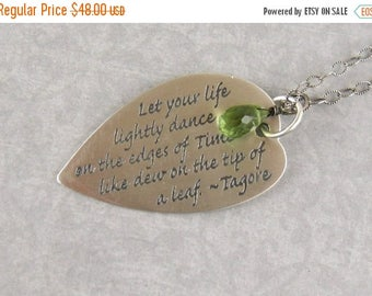 SALE Graduation Gift Poetry Jewelry Inspirational  Life Dance Tagore Necklace Class of 2015 Word Necklace Quote Mothers Day G23
