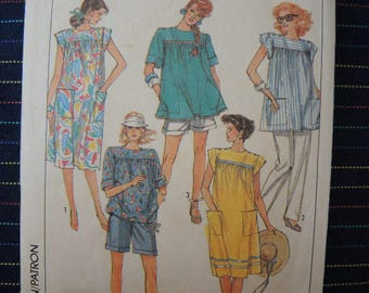 vintage 1980s Simplicity sewing pattern 8720 misses maternity dress or top pants and shorts size 6 & 8