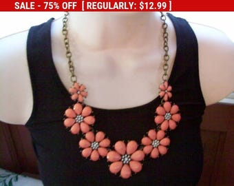 SALE Orange flower Statement necklace, Beaded bib necklace, vintage necklace, estate jewelry