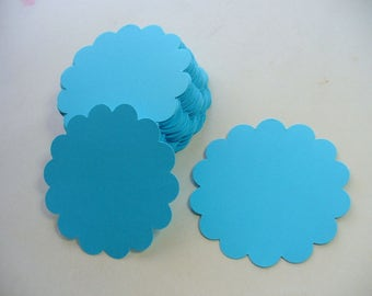 Bright Blue Scalloped Circle Die Cuts, Paper Craft, Price Tag, Card Making, Scrapbook, Gift Tag, Scalloped Paper Tags, Neon Blue