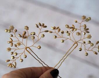 Wedding hair jewelry, Gold Wedding Hair Accessory, Gold Headpiece, Bridal Hair Pins, Gold Flower pin, gold bridal pin, Gold Hair Pins
