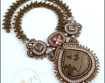 Jasper Soutache necklace in Coal, Dusty pink, Mauve and Dark silver