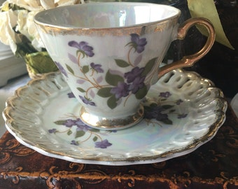 Gorgeous Japan Lusterware Teacup and Saucer Hand Painted Violets Teacup and Saucer Set